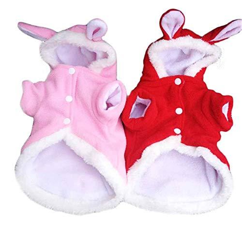 HKHJN Weihnachten Pet Kleidung Mode Niedlichen Kaninchen Plüsch Hund Bekleidung Pet Hoodie Kostüm Winter Kleidung HKHJN (Color : Color Red, Size : XS) (Niedlichen Weihnachts Kostüm Hunde)