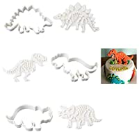 Dinosaur Cookie Cutters Set with Fossil Stampers Fondant Biscuit Cutter for Cake DIY Mould Dinosaur Shape Baking Moulds for Kids Children Pack of 3