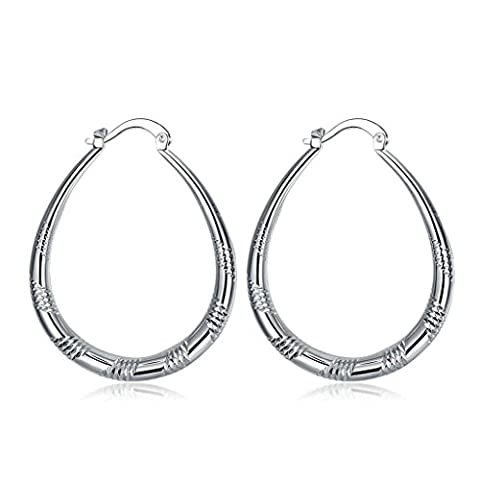 Gnzoe Jewelry Silver Plated Lady Simple Big Loop Round Dangle Earrings