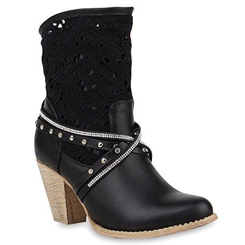 Stiefelparadies Damen Biker Boots Stiefel Stiefeletten Cowboy mit Spitze Sommer in Mehreren Farben 36-41 Schuhe 66287 Schwarz 40 Flandell
