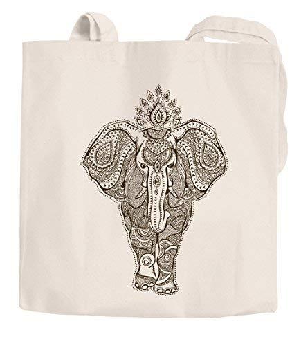 Yute bolsa Mandala Elefante zentangle Mandala Funda de algodón bolsa de la compra Autiga®, Zentangle Elefant Natur, 2 lange Henkel