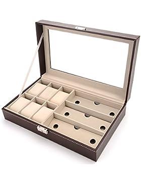 DoubleBlack Uhrenbox for 6 Uhren Brillenbox für 3 Paar Brillen Braun