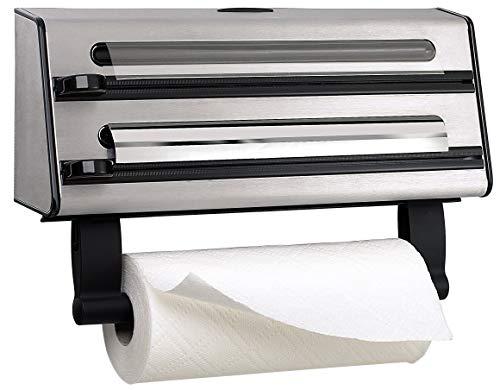 Emsa Contura Portarollos de cocina triple, corta papel de alumino, envoltura de plástico, papel de sandwich, corte en dos dimensiones, fácil de manipular
