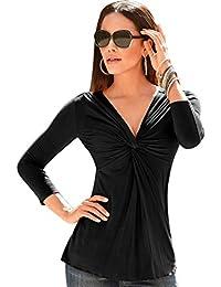 2dd06e7bf755d Chemise Col V Femme Haut Moulant Sexy Chemisier Manches Longues Elégante T  Shirt Automne Hiver Casual Uni Tunique Top Noir Blanc…