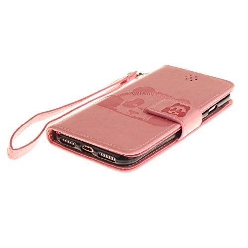 Voguecase Pour Apple iPhone 7 4,7 Coque, Étui en cuir synthétique chic avec fonction support pratique pour Apple iPhone 7 4,7 (Panda-Rouge)de Gratuit stylet l'écran aléatoire universelle Panda-Pink