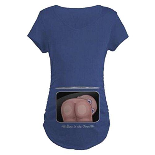 JiXuan Mujeres Camiseta de Maternidad Divertido Embarazo Tops Camiseta Lateral con Pliegues Camiseta Azul Marino S