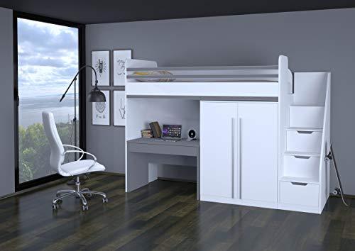 78862360, Polini City Hochbett mit Matratze 90x200 Treppe Schrank Tisch weiß grau -