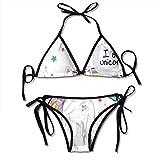 Photo de Women's Swimsuit Two Pieces Bikini Set, Fairy Animal with Ice Cream Cone Bow Stars and Rainbow Kids Imagination Fiction,Swimwear Bathing Suits par F0k2t0