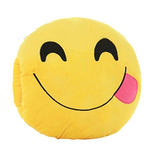 Tonsee Gelbe Runde weiche Emoji Smiley Emoticon gefüllte Plüsch Spielzeug Puppe Händen wärmer Kissen Eingreifen Kissen,Vorwölbung der Zunge