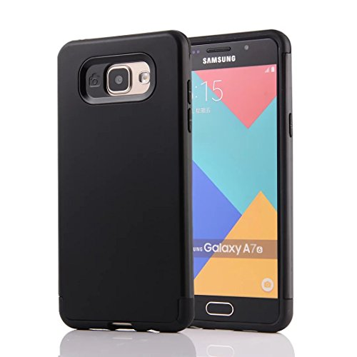 YHUISEN Galaxy A7 2016 Case, 2 In 1 PC + TPU Armor Hybrid Dual Layer Schutz Schock Absorption Hard Back Cover Fall für Samsung Galaxy A7 2016 A710 ( Color : Rose Gold ) Black