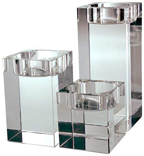 VOGUISH Teelichthalter 3er Set, Kerzenständer, Kerzenhalter aus Kristall, Glas inkl. Geschenkbox