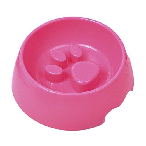 ALCYONEUS Cute Raised Paw Print Pet Slow Feeding Bowl for Dog Cats Eco-Friendly Feeder (Pink)