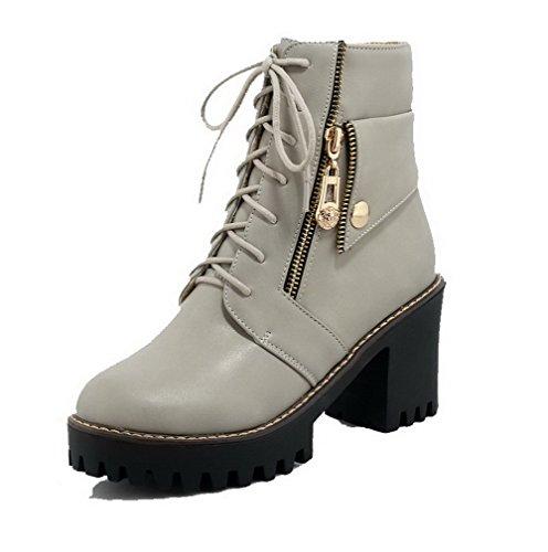 AgooLar Damen Rein Hoher Absatz Schnüren Rund Zehe Stiefel mit Metallisch Grau