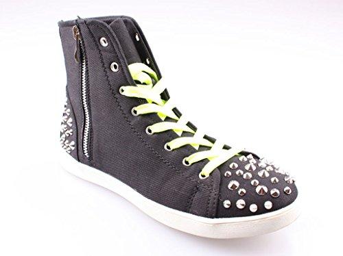 Sneakers, chaussures femme, bottes, chaussures femme, chaussures rivet, modèle 11094104001188, noir ou marron, différents modèles et tailles. Schwarz Modell B