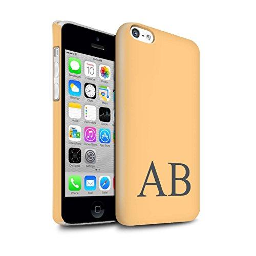 Personalisiert Pastell Monogramm Glanz Hülle für Apple iPhone 5C / Türkis Design / Initiale/Name/Text Snap-On Schutzhülle/Case/Etui Orange