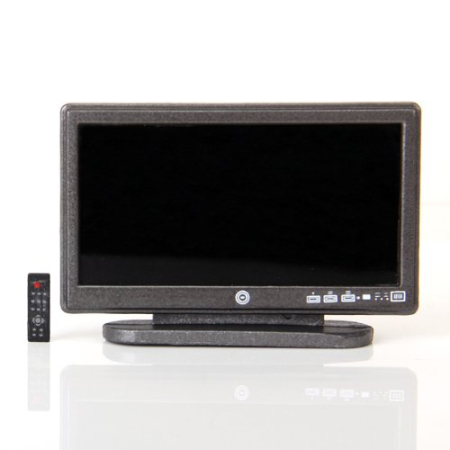 Preisvergleich Produktbild Puppenhaus Miniatur Breitbild Fernseher Flat Panel LCD TV w / remote grau