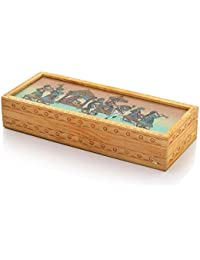 Creative Studio Carved Gemstone Painted Wooden Jewellery Box