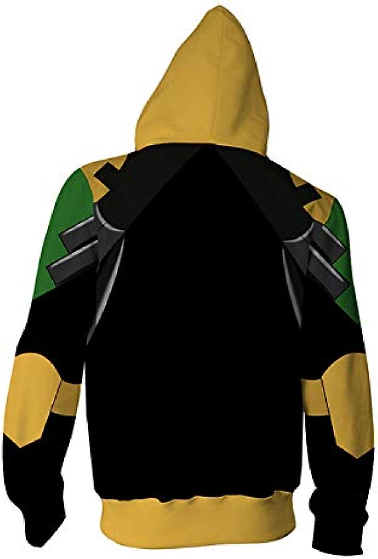 Hojoo Unisex Uomo Donna 3D Maglione Cappuccio Superhero... Pullover Felpa  Grande Tasca Animazione Cosplay con Cerniera Superhero... Cappuccio 50552b e82cb66eb166