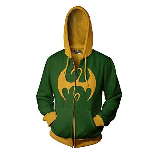 RJHWY 3D Hoodie Sweatshirt Unisex Pullover Kapuzenjacke Kleidung Mantel Reißverschluss Iron Fist S (Iron Fist Kostüm)