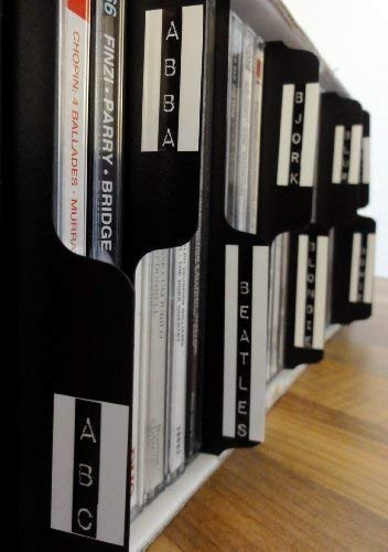 26X Negro Vertical CD Colección Pestañas Divisores Adecuado para Est