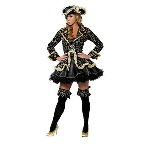HOOLAZA Frauen Schwarz Rollenspiel Pirat Kostüm Cosplay 5 Stück Kostüm Set - 5 Stück Piraten