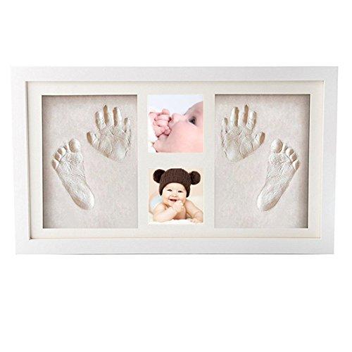 Baby Bilderrahmen für Baby Handabdruck und Fußabdruck Rahmen Andenken set, Foto Rahmen 42*22cm Wandbehang und Schreibtisch,Echtholz Babyrahmen für Baby Dusche oder Tauf Geschenk,Geburtstagsgeschenke