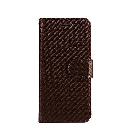 ARTLU® (Marron en fibre de carbone Wallet) For iphone 7 plus (5.5) étui Cover Case Carbon Fiber BookStyle PU cuir Wallet flip avec le Crédit couverture de peau Slot / carte de débit Avec écran Wallet Portefeuille Support avec Porte-cartes pour iphone 7 plus (5.5)