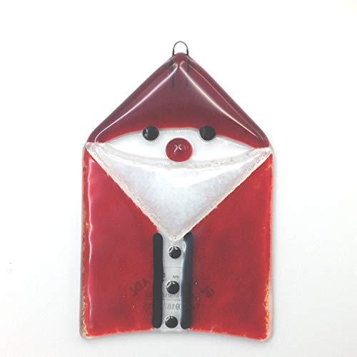 Christbaum Schmuck Weihnachtsmann Nikolaus Glas-Fusing Rot