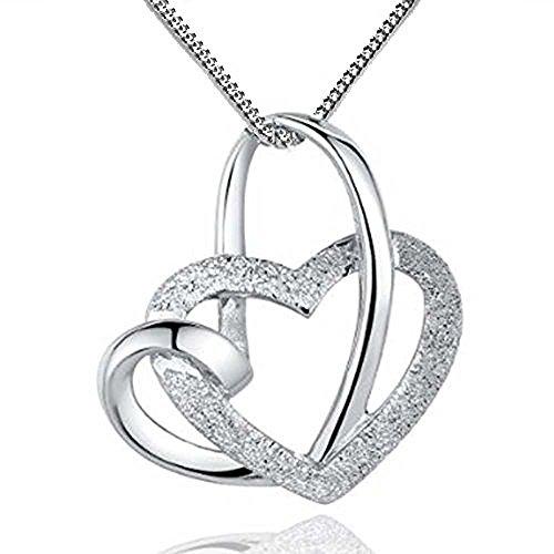"""YFN - Collana in argento sterling 925 con pendente a forma di doppio cuore intrecciato """"Loving You A Lifetime"""", lunghezza 46 cm"""