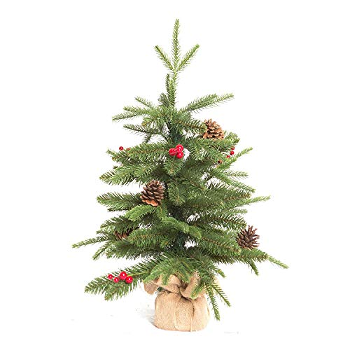 Xone Pinetto con bacche e pigne, mini albero di Natale artificiale con base in juta