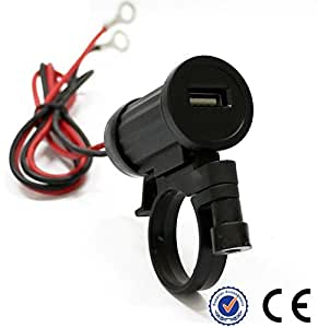 Sports Imports HBX-65 Motorcycle Handlebar Mount USB 2.1A Power Port Charger
