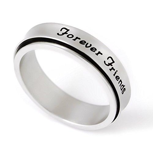 """Amici Anello Spinner Anello Unisex con incisione """"forever friends"""" su anello di fidanzamento, Anello rotante"""