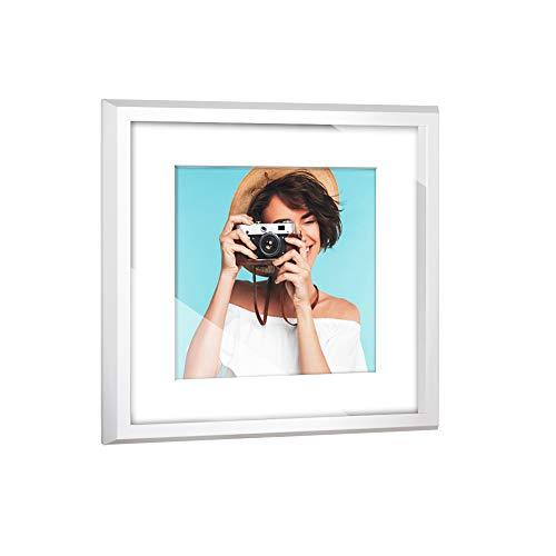 Objektrahmen VARIANTO45 Box 3D Bilderrahmen Weiß matt 30x30cm mit Passepartout Reinweiß Bildausschnitt 20x20cm