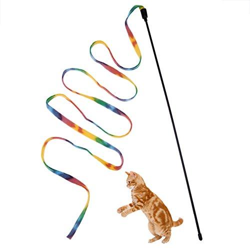 Demiawaking Haustier Katze Spielzeug Regenbogen Tuch Streifen Tease Katzen Rod Teaser Spielzeug
