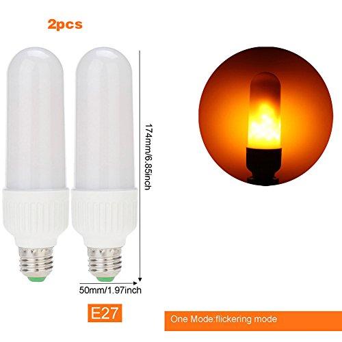 2pz, con lampadine a led effetto fiamma dxlta e26e27fire tremolante naturale simulata multi-modes lampade per festa di natale decorazione 5w, e27 (a) * 2, one mode