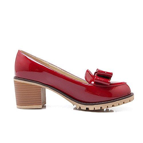 AgooLar Femme Tire à Talon Correct Pu Cuir Couleur Unie Rond Chaussures Légeres Rouge
