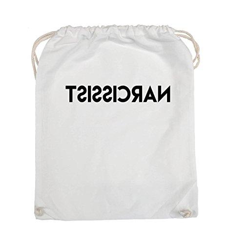 Comedy Bags - NARCISSIST - GESPIEGELT - Turnbeutel - 37x46cm - Farbe: Schwarz / Silber Weiss / Schwarz