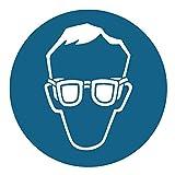 Holthaus Medical Gebotsschild Augenschutz Warnhinweis Zeichen Schild, 200 mm rund, blau