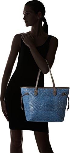 Chicca Borse Damen 80061 Schultertasche, 46x30x17 Cm Blau (blu)