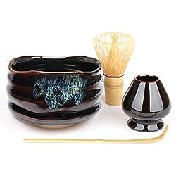 """Goodwei Japanisches Matcha-Set """"Kuro"""" - Matcha-Schale mit Bambusbesen und Besenhalter in Geschenkbox (80 Borsten - Weißer Bambus)"""