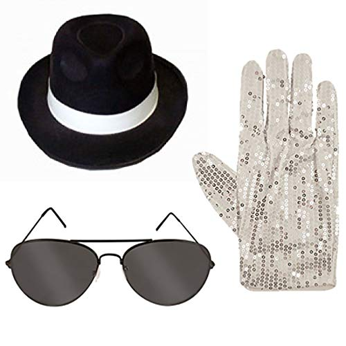 Islander Fashions Kind King of Pop Kost�m Hut Brille Handschuhe Kost�m Pop Star Zubeh�r 3 St�cke Set One Size (Michael Jackson Handschuh Und Hut)