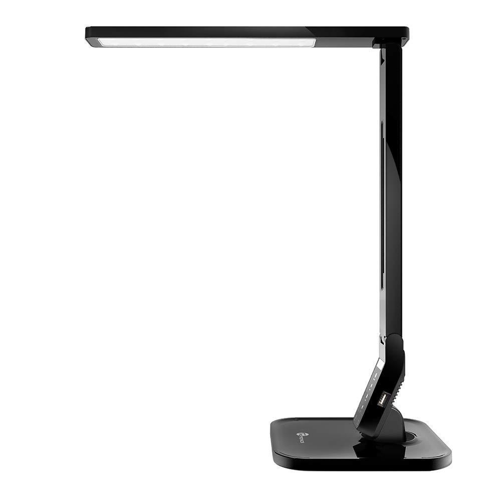 TaoTronics Lámpara Escritorio USB LED con Puertos USB Cargador (4 Modos Lectura, Estudio, Relajamiento, Sueño) 5 Niveles de Brillo, Diseño Elegante