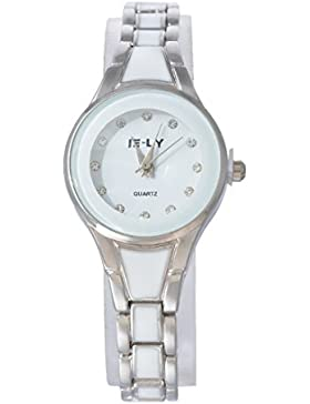 Souarts Damen Silber Farbe Edelstahl Strass Armbanduhr Quartzuhr Analog mit Batterie