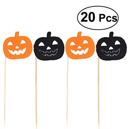 (OULII Halloween Kürbis Kuchen Deckel Kuchen Auswahl für Halloween Party Dekoration (gelegentliches Schwarzes und Orange) 20pcs)