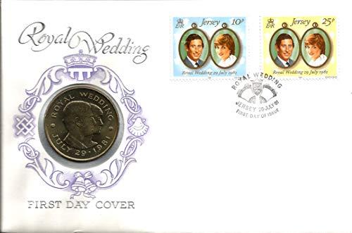 Münze und Briefmarken für den ersten Tag (englischsprachig), Charles and Diana Hochzeit, 29. Juli 1981 mit der 2-£-Münze. Der Zustand extra große Abdeckung.