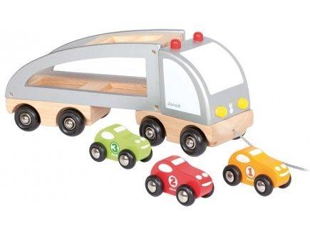 Janod Camion multi bolides en bois a tirer jouet a tirer en bois