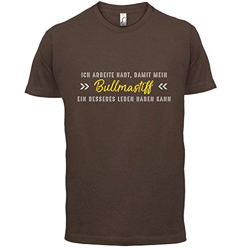 Ich arbeite hart, damit mein Bullmastiff ein besseres Leben haben kann - Herren T-Shirt - 12 Farben Schokobraun