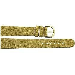 Watch Strap in Beige PU - 16mm - - buckle in Gold stainless steel - B16BeiItr57G