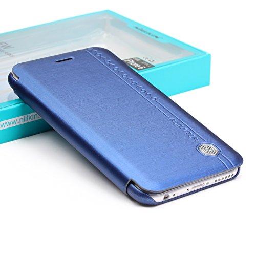 Etui iPhone 6 Plus / 6s Plus, Nilkin Rain Series Housse Téléphone [avec Fente pour Cartes] Coque Apple iPhone 6 Plus / 6s Plus Case Bleu Foncé Smartphone Bleu Foncé
