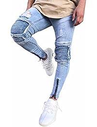 Pantalones de Hombre Moda Ripeado Ajustado Motocicleta Vendimia Elástico  Pantalones Vaqueros Hip Hop Ropa de Calle 06262777b0fc